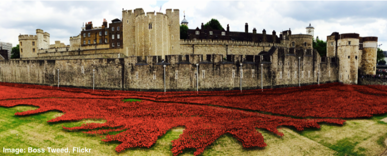 Poppies at the Tower of London. Image: Boss Tweed, Flickr.