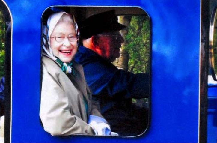 The Queen rides a steam train in Hampshire. Image: The Guardian