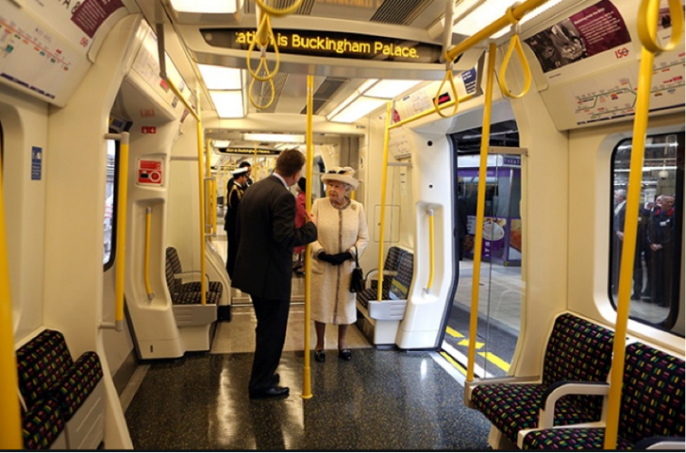 The Queen visits Baker Street station to celebrate 100 years of the London Underground. Image: Guardian