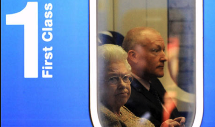The Queen Rides First Class. Image: The Guardian