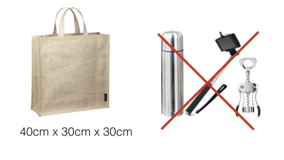 Thermos flasks, sharp knives, and large corkscrews are prohibited. Camping chairs and selfie sticks are also banned and must be left at the left luggage facilities.