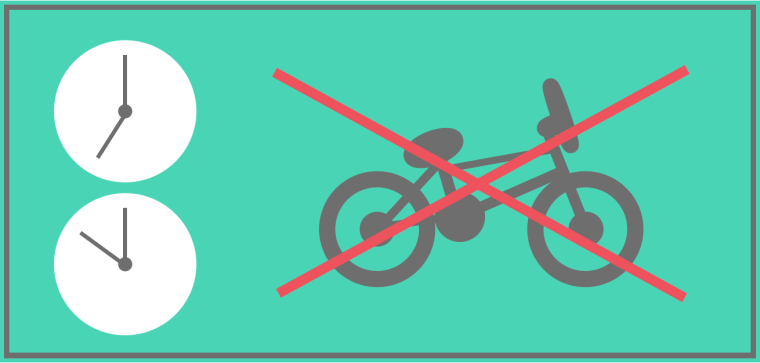 Bikes are prohibited on Peak train services in and out of London, as well as some peak services in Wales.