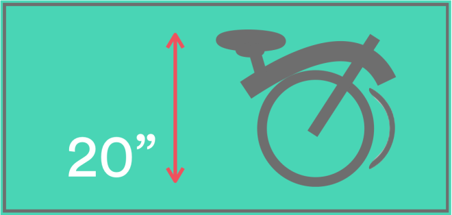 Folding bikes with wheels up to 20 inches can be taken on peak time train services in the UK.