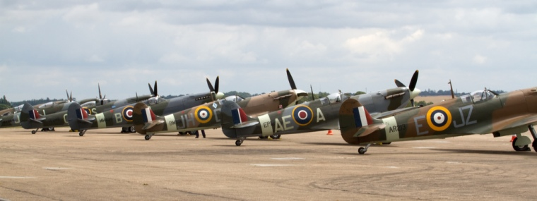 Generations of Spitfires ready to scramble from Duxford's pan. Image: Tony Hisgett, Flickr