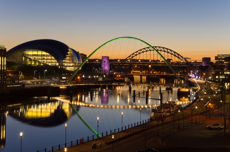 Newcastle quayside at night time